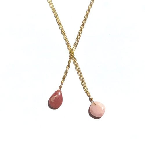 Indy & Noa goldfilled Rhodochrosite & Opal necklace