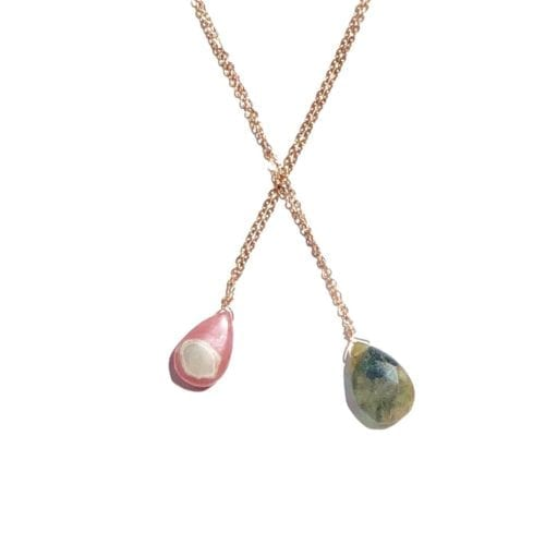 Pink Goldfilled Labradorite & Rhodochrosiste necklace