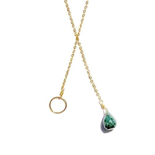 Indy & Noa goldfilled smaragd ketting