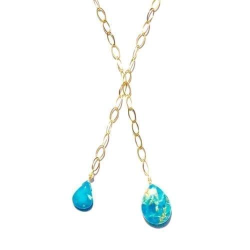 Indy & Noa goldfilled koper Turquoise & Turquoise ketting