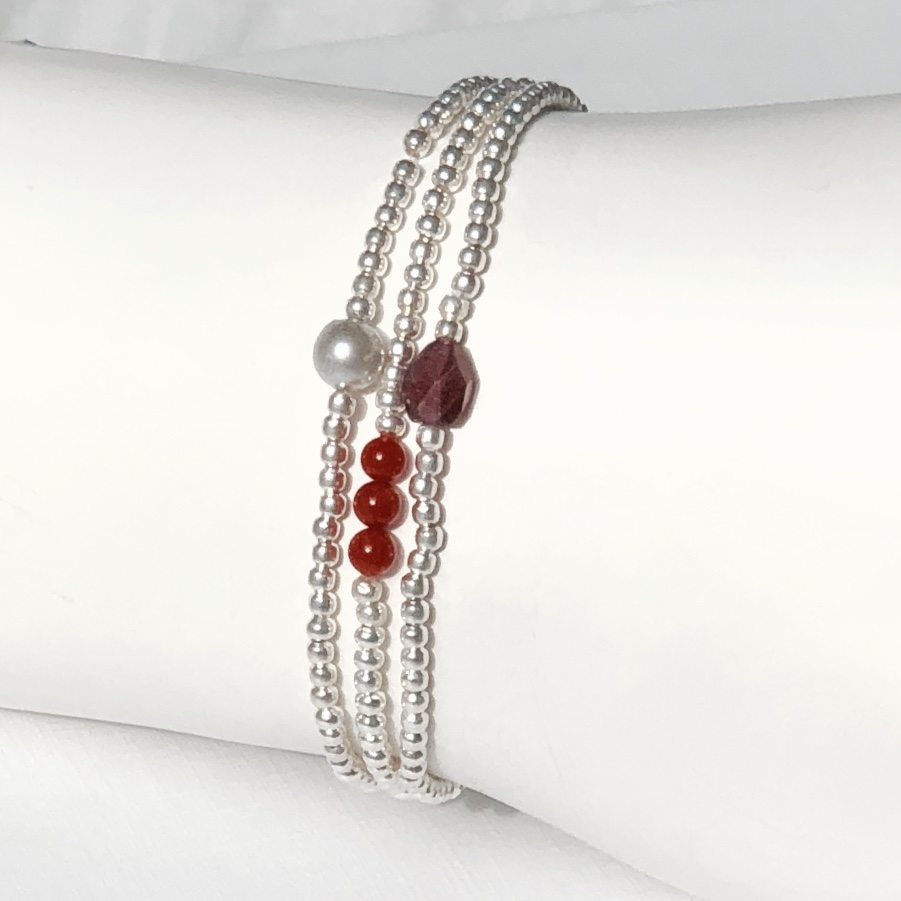 Indy & Noa Set of silver bracelets for the Future