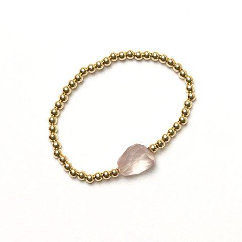 Goldfilled armband met rozekwarts