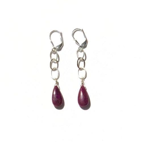Indy & Noa silver Ruby earrings