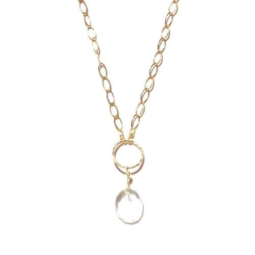 Indy & Noa goldfilled Crystal Quartz and circle of life necklace