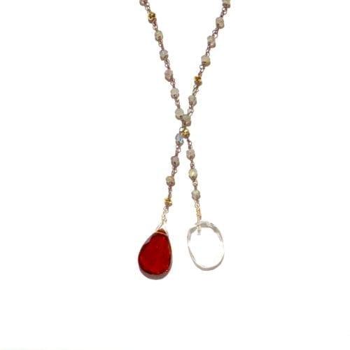 Indy & Noa Hessonite & Crystal Quartz necklace