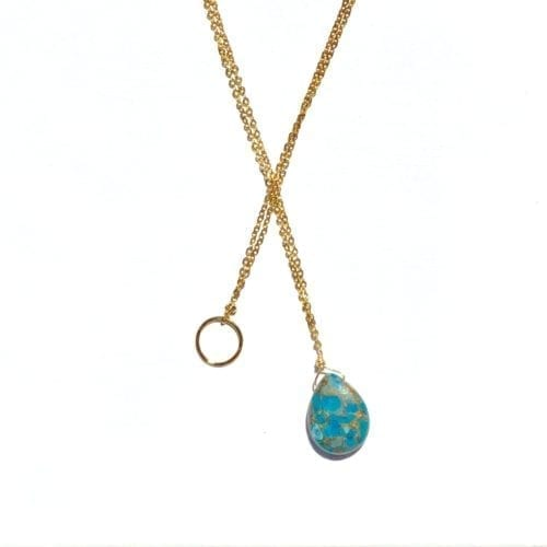 Indy & Noa goldfilled Turquoise & circle of life ketting