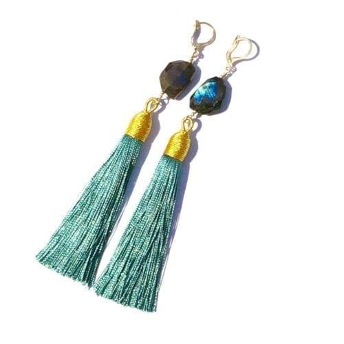 Indy & Noa Tassel & Labradorite earrings