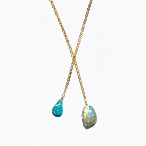 Indy & Noa goldfilled Labradoriet & Turquoise ketting