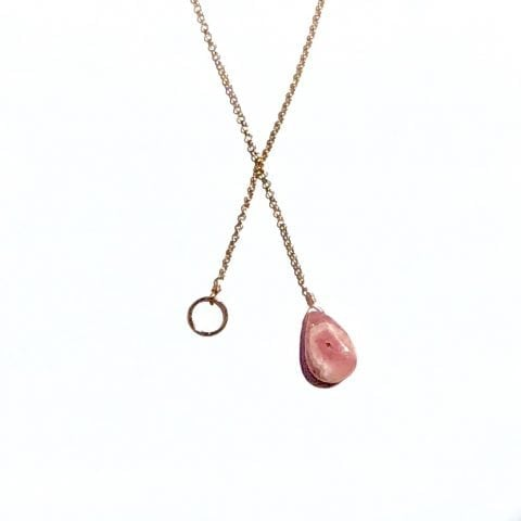 Indy & Noa rosé goldfilled Rhodochrosiet & Circle of Life ketting