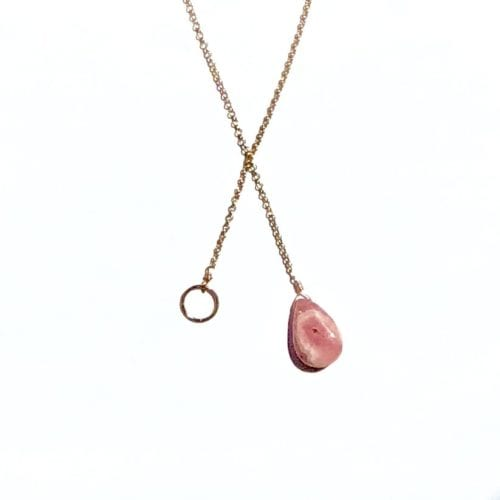 Indy & Noa pink goldfilled Rhodochrosite & Circle of Life necklace
