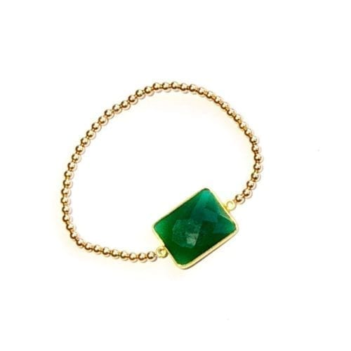 Indy & Noa Goldfilled green Onyx bracelet