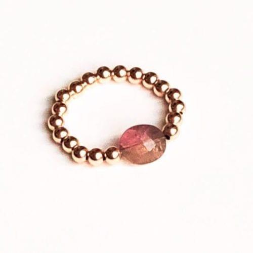 Indy & Noa Toermalijn rosé Goldfilled ring