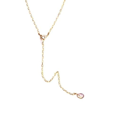 Indy & Noa goldfilled Tourmaline lariat necklace