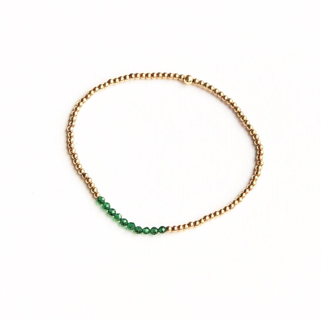 Indy & Noa goldfilled mini Emerald bracelet