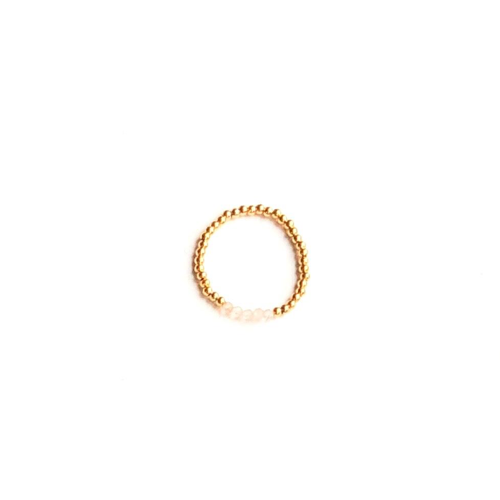 Indy & Noa goldfilled mini Strawberry Quartz ring