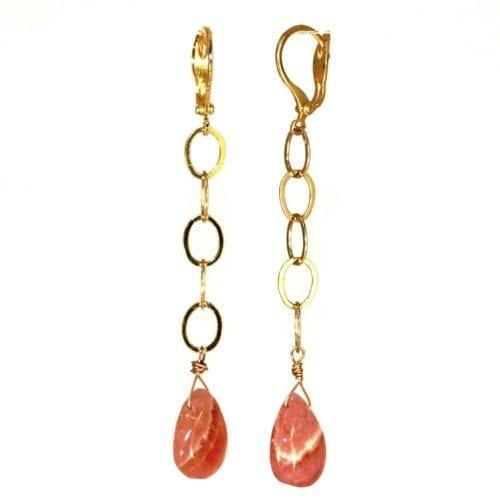 Indy & Noa goldfilled Rhodochrosite earrings